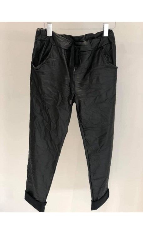Coated Leather Look Magic Pants | Black