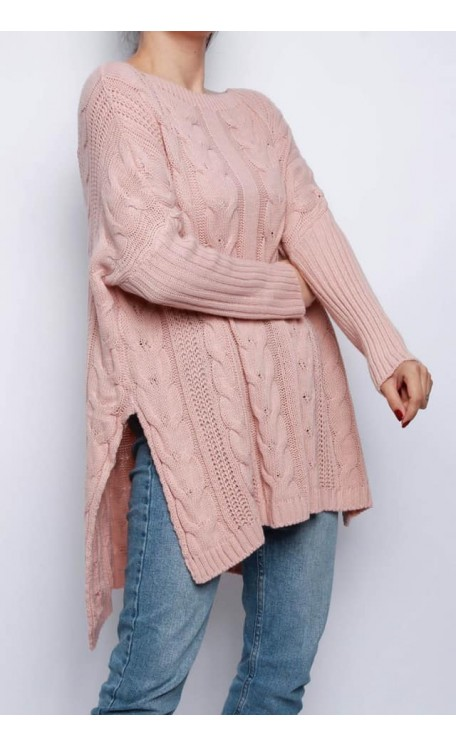 Cable Knit Jumper | Pink