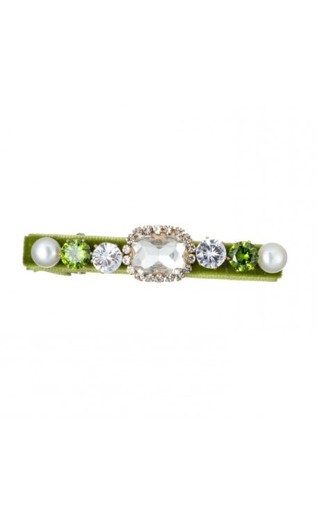 Charlotte Diamonte Hair Slide | Lime