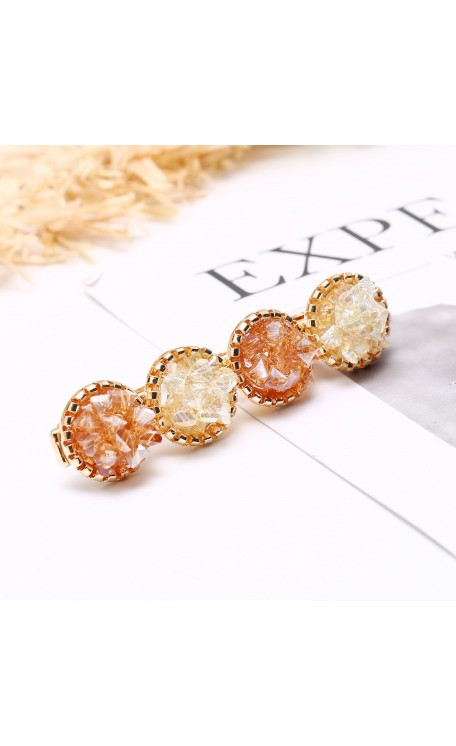 Amber & Lemon Crystal Hair Slide
