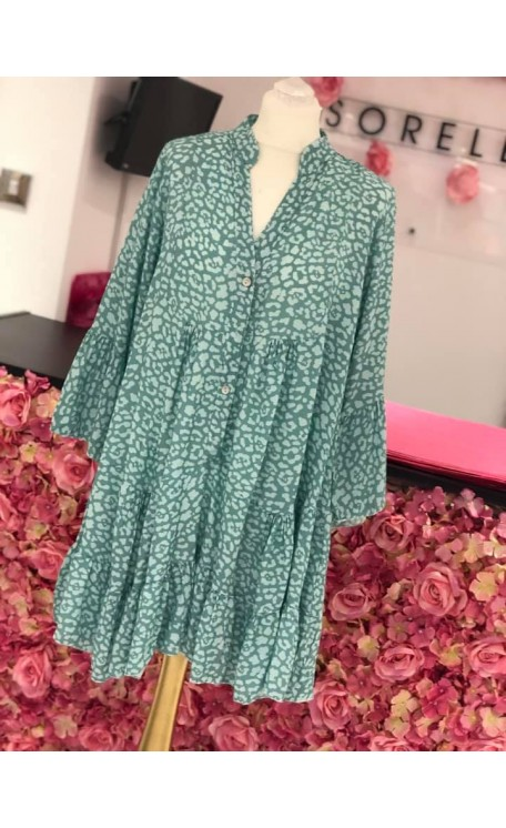 Molly Smock Dress | Mint Leopard