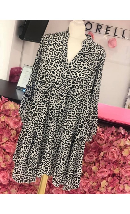 Molly Smock Dress | Monochrome Leopard