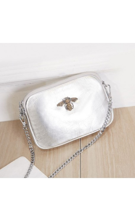 Leather Diamonte Bee Bag | Silver