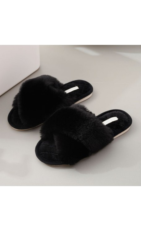 Criss Cross Slippers | Black