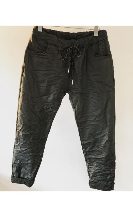 Coated Leather Look Magic Pants | Green