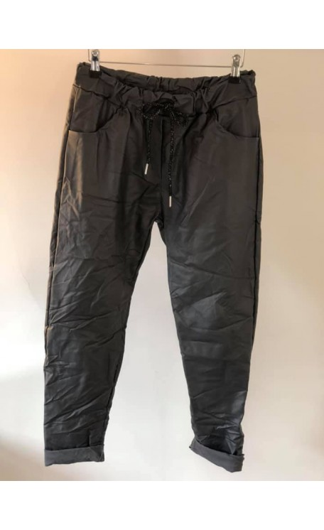 Coated Leather Look Magic Pants | Slate Grey
